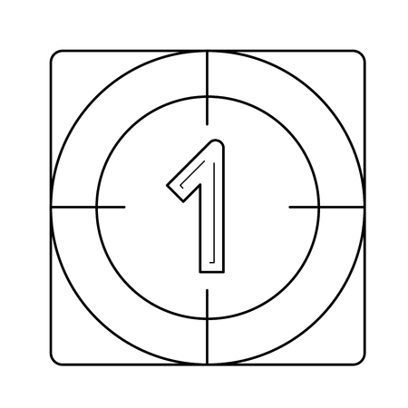 Countdown vector line icon isolated on white background. Film countdown line icon for infographic, website or app. Icon designed on a grid system. Vectores