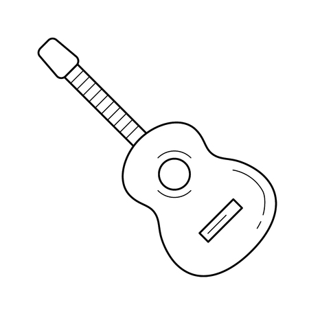Acoustic guitar vector line icon isolated on white background. Acoustic guitar line icon for infographic, website or app. Icon designed on a grid system.