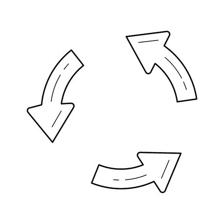 벡터 라인 아이콘 흰색 배경에 고립 된 업데이트. 인포 그래픽, 웹 사이트 또는 앱의 업데이트 라인 아이콘. 그리드 시스템에 설계된 아이콘.