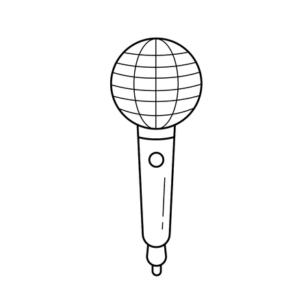 Radio microphone vector line icon isolated on white background. Radio microphone line icon for infographic, website or app. Scalable icon designed on a grid system. 版權商用圖片 - 101817550