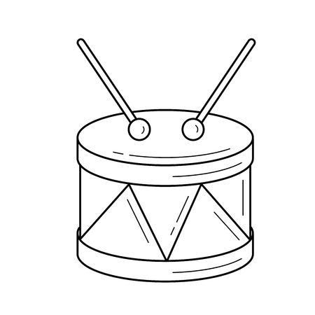 Snare Drum Vector Line Icon Isolated On White Background For Infographic