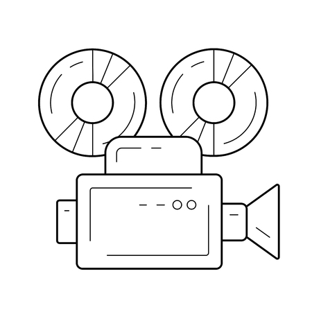 Video camera vector line icon isolated on white background. Retro video camera line icon for infographic, website or app. Scalable icon designed on a grid system.