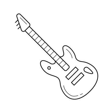 Rock guitar vector line icon isolated on white background. Rock guitar line icon for infographic, website or app. Scalable icon designed on a grid system.