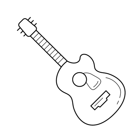 Jazz guitar vector line icon isolated on white background. Jazz guitar line icon for infographic, website or app. Icon designed on a grid system.