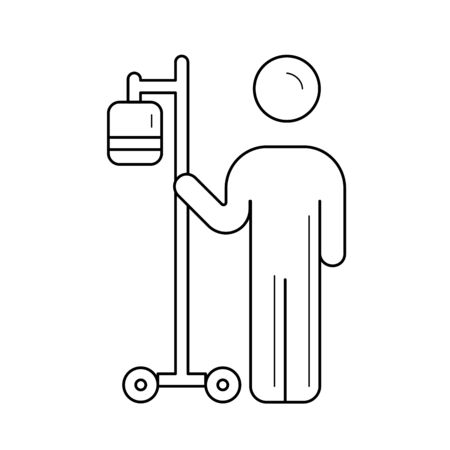 Patient with intravenous medical equipment to infuse vector line icon isolated on white background. Intravenous bag line icon for infographic, website or app. Icon designed on a grid system.