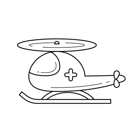 Air ambulance, rescue helicopter vector line icon isolated on white background. Ambulance helicopter line icon for infographic, website or app. Icon designed on a grid system.