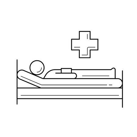 Hospital bed vector line icon isolated on white background. Hospital bed line icon for infographic, website or app. Icon designed on a grid system. Vettoriali