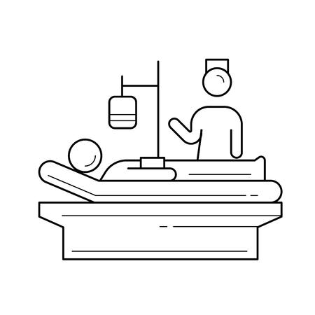 침대 벡터 라인 아이콘 흰색 배경에 고립에 누워있는 환자. 간호 개념. 인포 그래픽, 웹 사이트 또는 앱을위한 간호사 및 환자 라인 아이콘. 그리드 시
