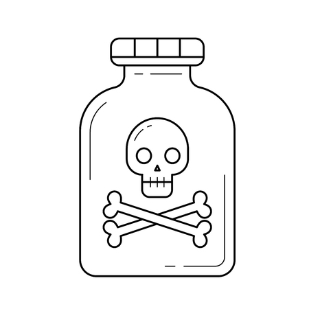 Hazardous poison vector line icon isolated on white background. Poison line icon for infographic, website or app. Icon designed on a grid system.