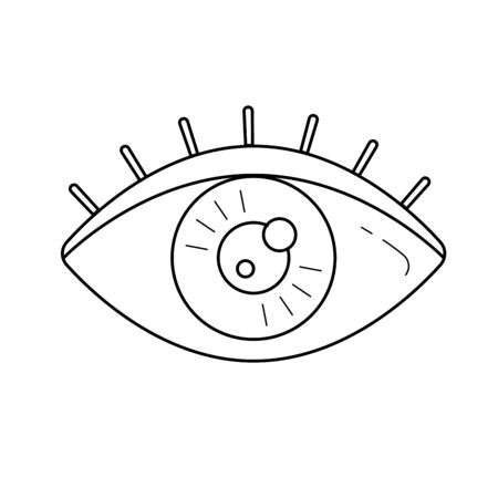 Human eye vector line icon isolated on white background. Sight concept. Eye iris line icon for infographic, website or app. Icon designed on a grid system. Illustration