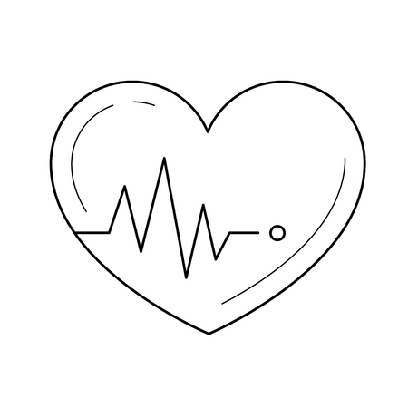 Heartbeat vector line icon isolated on white background. Heartbeat line icon for infographic, website or app. Icon designed on a grid system.