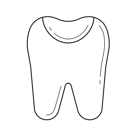 Tooth enamel vector line icon isolated on white background. Tooth enamel line icon for infographic, website or app. Icon designed on a grid system.
