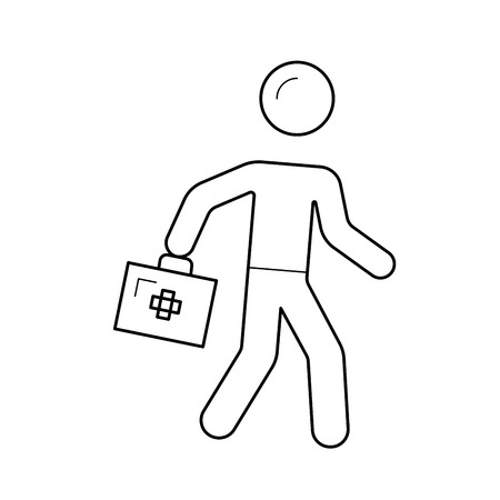 Emergency care, fast medicine vector line icon isolated on white background. Running nurse line icon for infographic, website or app. Icon designed on a grid system. Ilustracja