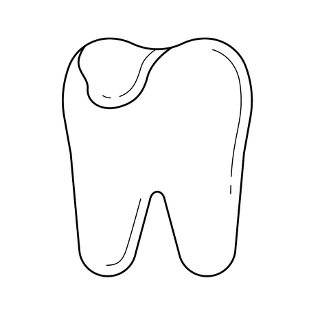 Tooth caries vector line icon isolated on white background. Tooth caries line icon for infographic, website or app. Icon designed on a grid system. 向量圖像