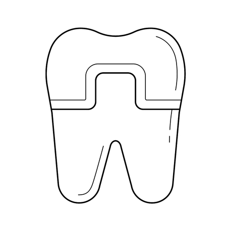 Filled tooth vector line icon isolated on white background. Filled tooth line icon for infographic, website or app. Icon designed on a grid system. Illustration