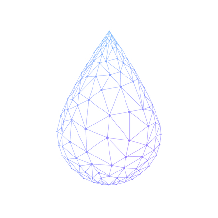 Water drop or oil drop icon made with blockchain technology network polygon isolated on white background. Connection structure of droplet or raindrop. Low poly design.