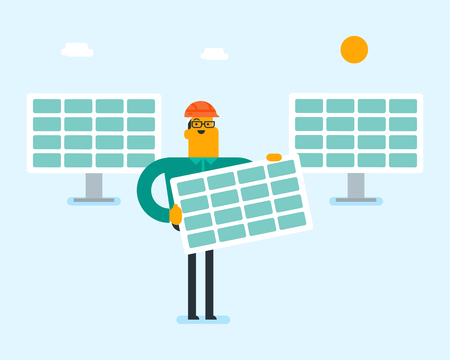 Young caucasian white man in hard hat holding solar panel on the background of solar power plant. Renewable energy concept. Vector cartoon illustration.