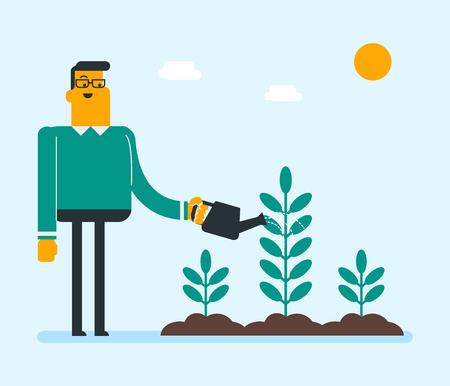 Young caucasian white gardener watering plant with a watering can. Man taking care of growing plant. Concept of environmental protection. Vector cartoon illustration. Square layout.