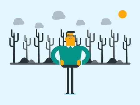 Caucasian white man standing on the background of dead forest. Dead forest caused by global warming or wildfire. Concept of environmental destruction. Vector cartoon illustration. Horizontal layout.