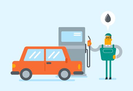 Caucasian white gas station worker filling up fuel into the car. Young gas station worker in workwear refueling a car. Vector cartoon illustration. Horizontal layout. Illustration