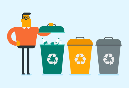 Caucasian white man standing next to the three bins and throwing away garbage in an appropriate bin. Concept of garbage separation, environmental protection and recycling. Vector cartoon illustration.