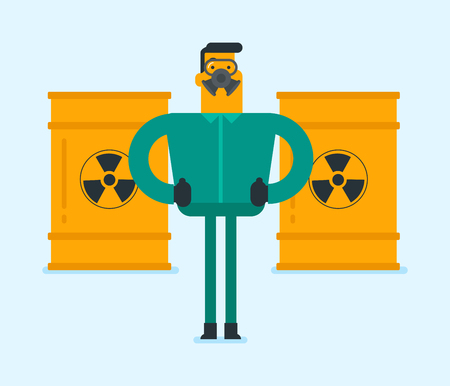 Caucasian white man in respirator and radiation protective suit standing on the background of barrel with radioactive liquid. Nuclear contamination and biohazard concept. Vector cartoon illustration. Illustration