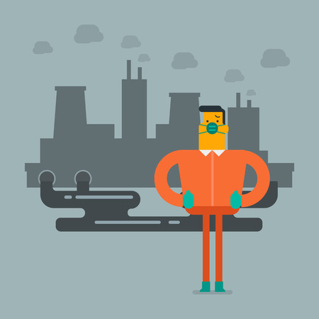 Young caucasian white man in gas mask standing on the background of nuclear power plant with smoking towers. Contamination of the environment concept. Vector cartoon illustration. Square layout.