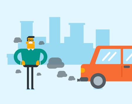 Hombre blanco caucásico joven en máscara de gas de pie junto al coche con emisiones de co2. Hombre con máscara para reducir el efecto de la contaminación del tráfico. Concepto de contaminación del aire tóxico. Vector ilustración de dibujos animados Foto de archivo - 98024826