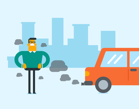 Young caucasian white man in gas mask standing next to the car with co2 emissions. Man wearing mask to reduce the effect of traffic pollution. Toxic air pollution concept. Vector cartoon illustration. Standard-Bild - 98024826
