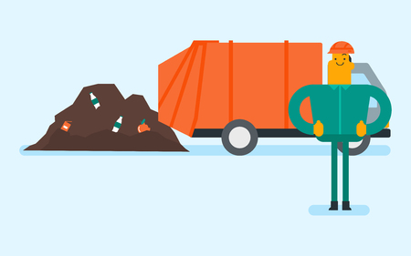 Caucasian white man standing on the background of garbage truck unloading waste on a rubbish dump. Worker dumping the rubbish on a landfill. Vector cartoon illustration. Horizontal layout. Illusztráció