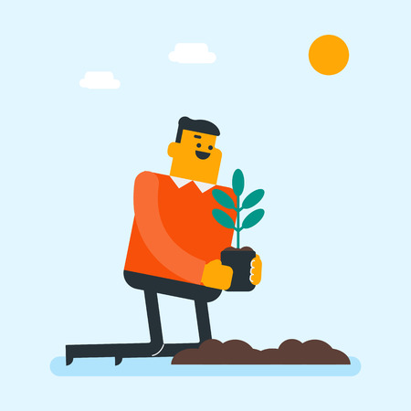 Young caucasian white gardener plants a tree. Cheerful man putting small young plant into the pit. Environmental protection and gardening concept. Vector cartoon illustration. Square layout.
