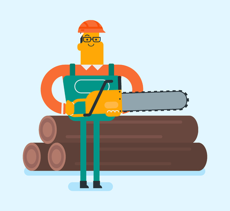Young caucasian white woodcutter in workwear and hard hat cutting tree with a chainsaw. Lumberjack working with a chainsaw. Vector cartoon illustration. Square layout.