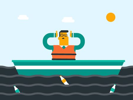 Young confused caucasian white male scientist clutching head while floating in water with oil spill and plastic bottles. Water, plastic and oil pollution concept. Vector cartoon illustration.