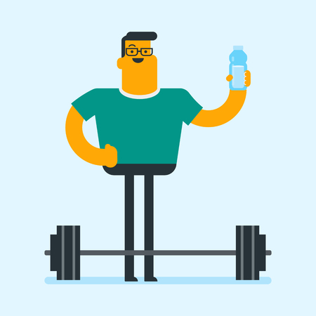 Caucasian white man drinking water on the background of barbell. Sportsman standing with the bottle of sport drink in the gym. Healthy lifestyle concept. Vector cartoon illustration. Square layout. Ilustracja