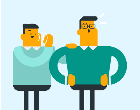 Young caucasian white man shielding his mouth and speaking in a whisper a gossip to his friend. Two men sharing and discussing gossip. Vector cartoon illustration. Horizontal layout. Ilustracja