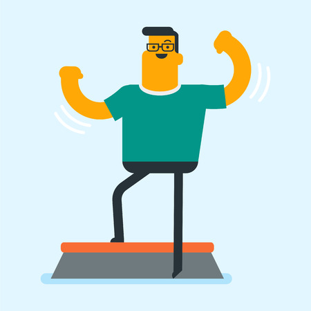 Young Caucasian white man doing step exercise during workout. Sportsman training on a stepper in the gym. Healthy lifestyle and sport concept. Illustration