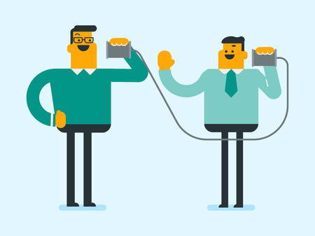 Two Caucasian white men listen each other using tin can telephone and discussing confidential information. Friends have a talk through a tin can phone. Illustration