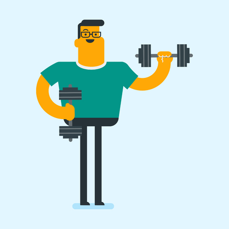 Young caucasian white bodybuilder doing exercises with a heavy weight dumbbell. Muscular sportsman pumping up biceps in the gym. Physical activity concept. Vector cartoon illustration. Square layout.