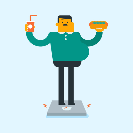 Overweight caucasian white man holding hot dog and soda in hands while measuring his weight on the floor scales. Lose weight and unhealthy lifestyle concept. Vector cartoon illustration. Square layout Illustration