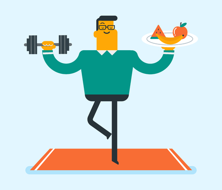 Caucasian white sportsman meditating in yoga tree position and holding fruit and dumbbell in hands. Man choosing healthy lifestyle. Healthy lifestyle and gym concept. Vector cartoon illustration.