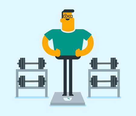 Caucasian white man weighing on the scales in the gym on the background of dumbbells. Sportsman measuring weight on scales after diet and workout. Weight loss concept. Vector cartoon illustration.