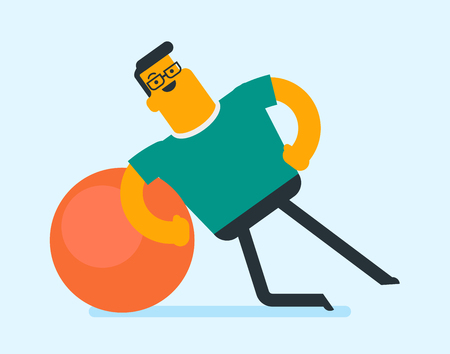 Young caucasian white man exercising with a fit ball in the gym. Glad sportsman holding side plank exercise on a fit ball. Healthy lifestyle concept. Vector cartoon illustration. Horizontal layout. Illustration