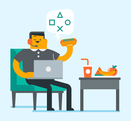 Lazy plump caucasian white man using a laptop computer and eating fast food. Fat man in headphones eating hotdog and playing on a laptop. Unhealthy lifestyle concept. Vector cartoon illustration. Illustration