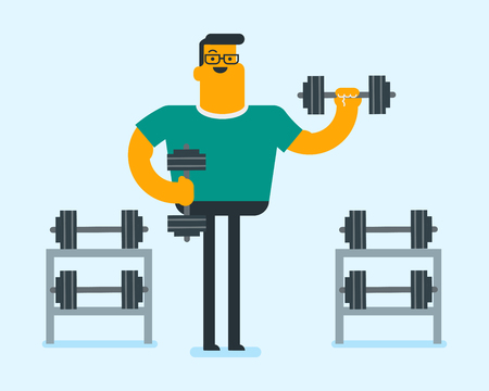 Young caucasian white bodybuilder doing exercises with a heavy weight dumbbell. Cheerful muscular sportsman pumping up biceps in the gym. Physical activity concept. Vector cartoon illustration. Illustration