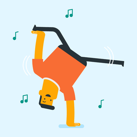 Caucasian white man energetically dancing. Cheerful strong breakdance dancer doing handstand. Young smiling man dancing. Healthy lifestyle, body care and sport concept. Vector cartoon illustration.