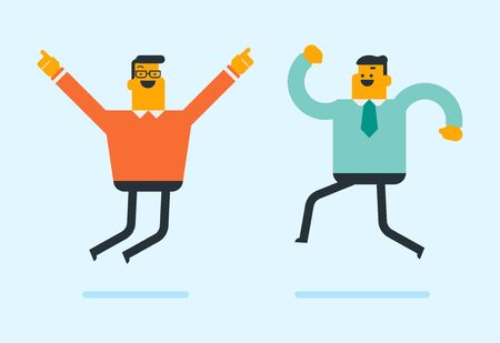 Two young caucasian white friends jumping. Happy laughing businessmen having fun together while jumping. Friendship, success and lifestyle concept. Vector cartoon illustration. Horizontal layout.