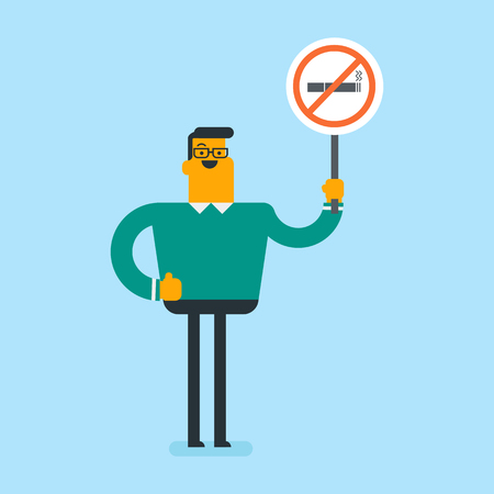 Young caucasian white man holding no smoking sign in hands. Man with a forbidden cigarette sign. Quit smoking and healthy lifestyle concept. Vector cartoon illustration. Square layout. Illustration