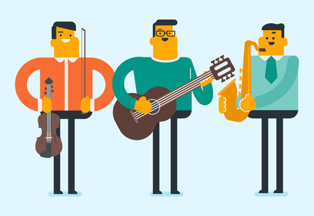 Band of caucasian white musicians playing the musical instruments. Young musicians at the music performance. Men playing the violin, guitar, saxophone. Vector cartoon illustration. Horizontal layout. Ilustrace