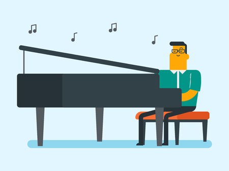 Young caucasian white musician playing piano. Pianist playing upright piano. Smiling male pianist performing on synthesizer. Vector cartoon illustration. Horizontal layout. Ilustração