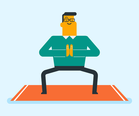 Happy caucasian white sportsman meditating in yoga goddess pose. Man relaxing in the yoga goddess position or sumo squat posture on the mat. Healthy lifestyle concept. Vector cartoon illustration.